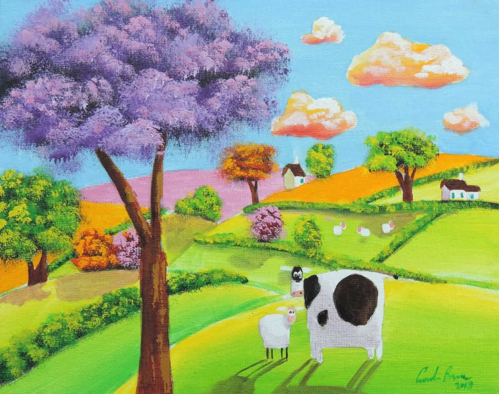 cow and sheep #folkart #painting