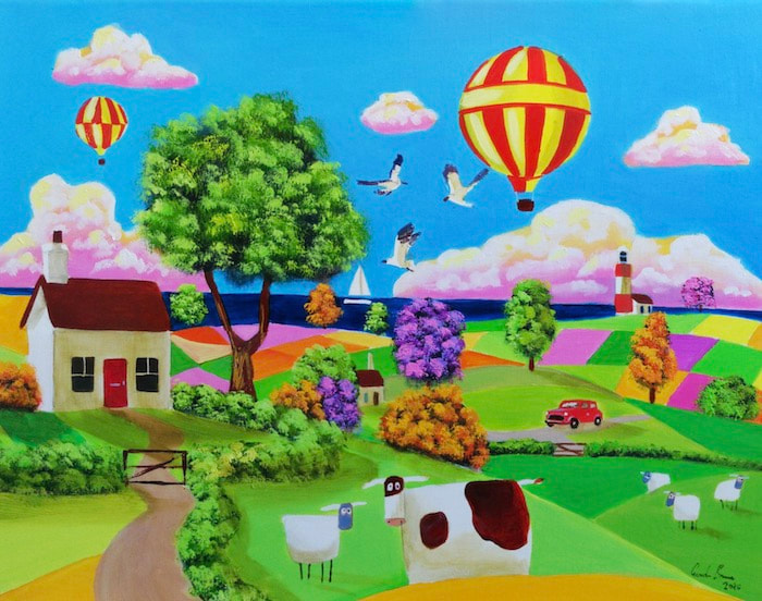 This is a handpainted canvas oil painting. A fun and joyful scene. A cow and his sheep friends are in this whimsical landscape near the seaside. Painted on quality stretched canvas with oils this canvas can be framed or hung without the use of one.