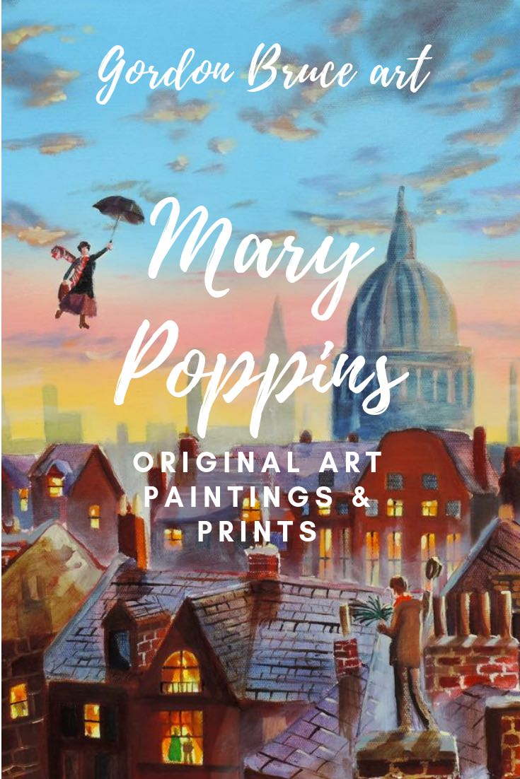 Mary Poppins paintings & prints. Original artwork from Gordon Bruce  #night #mary #marypoppins #artwork #paintings #gordonbruceart