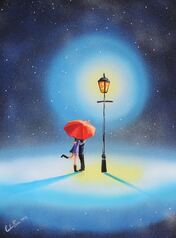 Romantic couple under a street lamp #art #painting