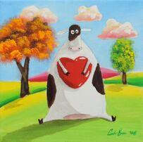 cow with a heart #painting #cow