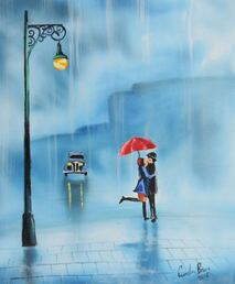 couple with a red umbrella #rainyday #painting