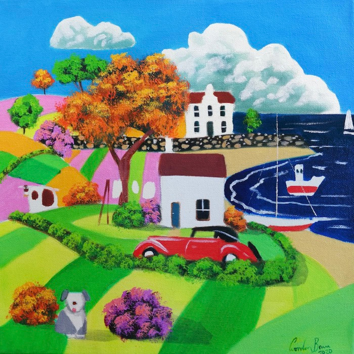 "Naive art ""New red car""   A joy fun summer scene. A new red car sits outside a seaside country cottage in this naive art painting. This colourful canvas was created with oils.  A happy whimsical scene of a cow and sheepdog.  This stretched canvas measures 30 cm by 30 cm."