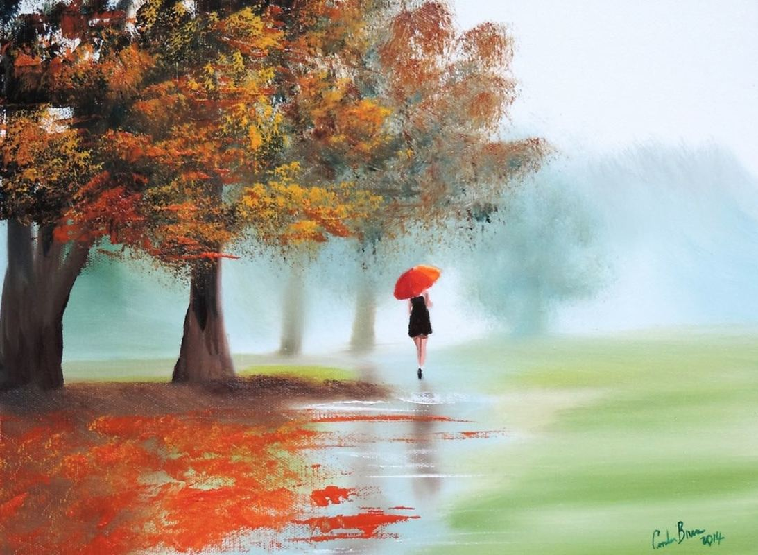 woman with a red umbrella #red #umbrella #painting